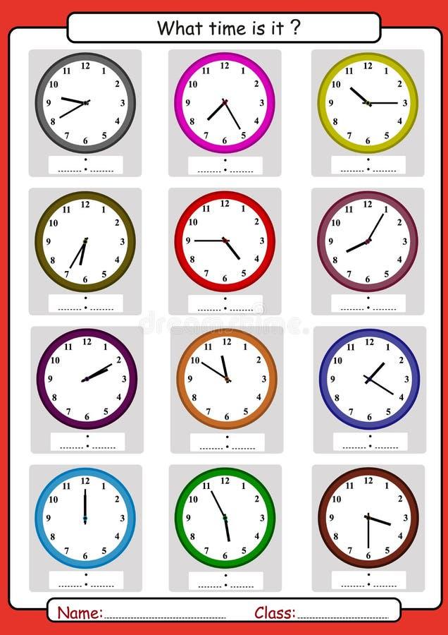 Quelle heure est il, ce qui est le temps, dessinent le temps, apprenant à dire le temps illustration de vecteur
