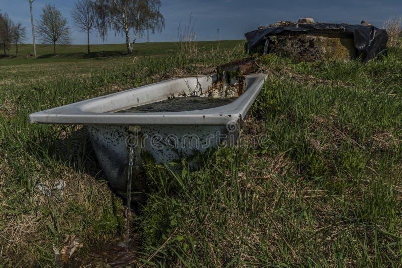 Quelle mit Trinkwasser und Bad auf Frühlingswiese lizenzfreie stockfotografie