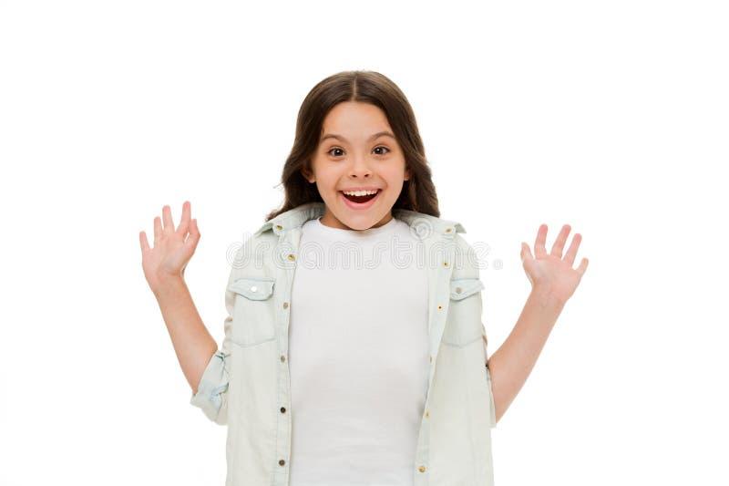 Quelle surprise Fond blanc d'isolement par sourire étonné par enfant Heureux étonné de cheveux bouclés de fille d'enfant long Fil image libre de droits