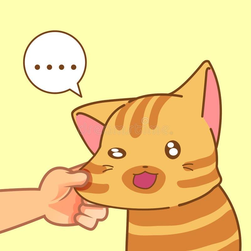 Quelqu'un joue avec le chat illustration stock