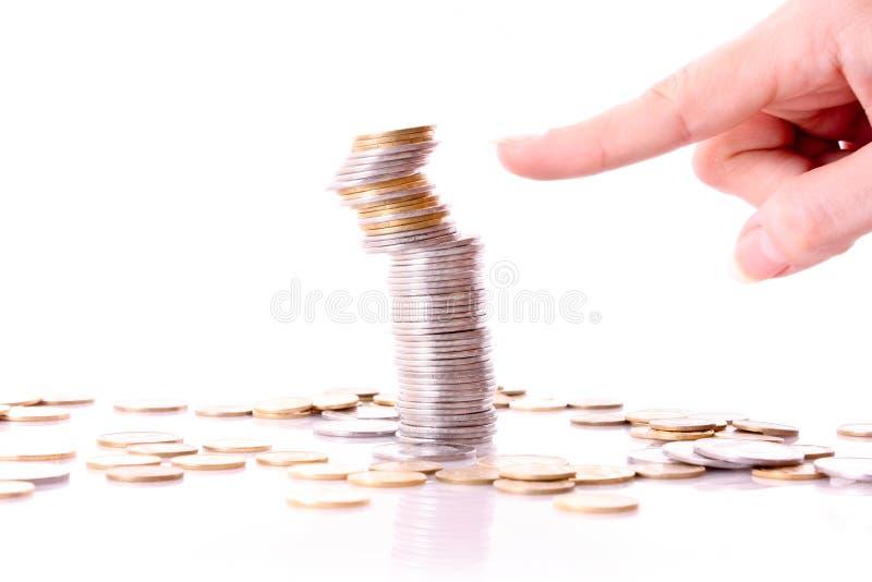 Quelqu'un tombent en panne le fléau de pièce de monnaie photos stock