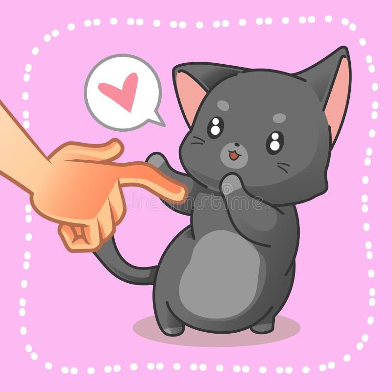 Quelqu'un touche un petit chat illustration de vecteur