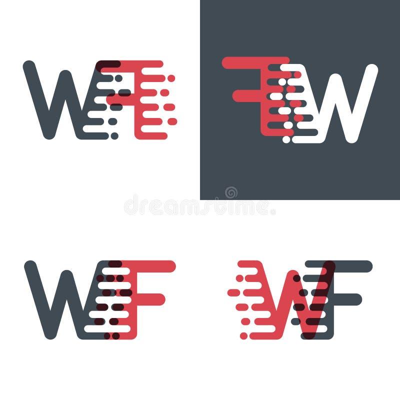 Quelque chose aiment le logo de lettres de WF avec le rose de vitesse d'accent et gris-foncé illustration de vecteur