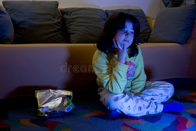 Quelque Chose Triste à La TV Photos stock