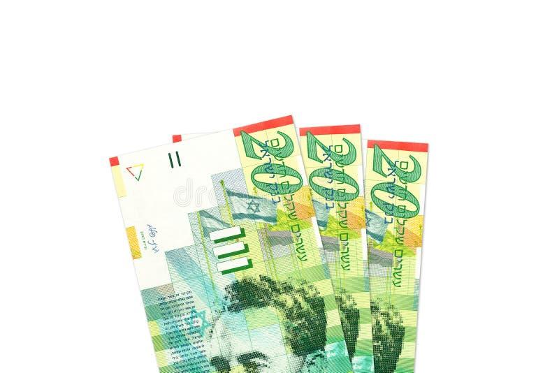 Quelques nouveaux billets de banque israéliens de shekel photographie stock libre de droits
