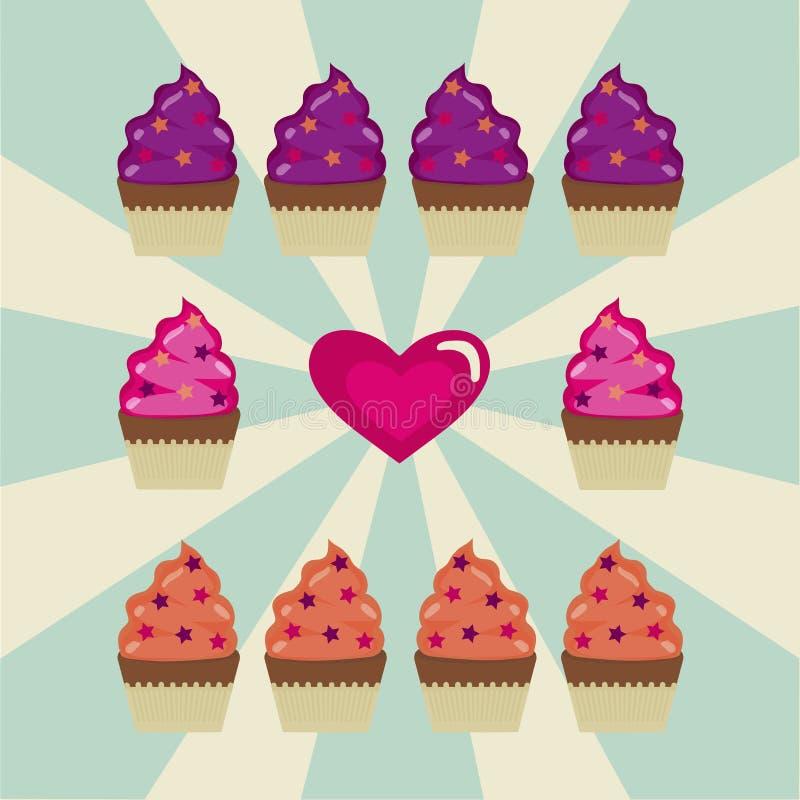 Quelques petits gâteaux et un coeur sur un fond blanc et bleu illustration de vecteur