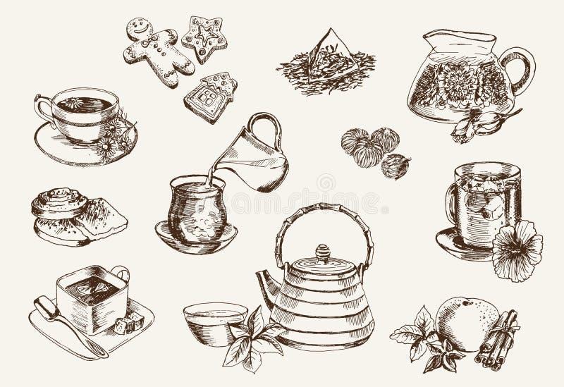Quelques types de thé illustration stock
