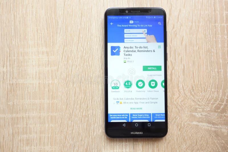 quels faites : Liste de remue-ménage, appli de calendrier, de rappel et de tâches sur le site Web de Google Play Store montré sur photo stock