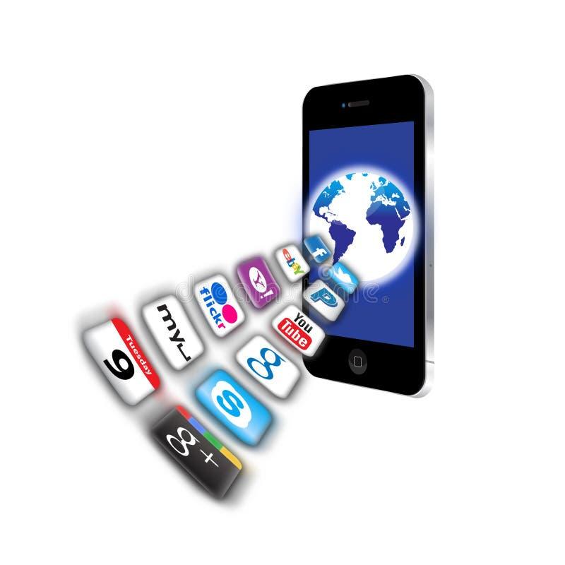 Quels sont des apps sont sur votre réseau mobile aujourd'hui ? illustration libre de droits