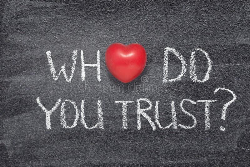Quem você confiam o coração foto de stock