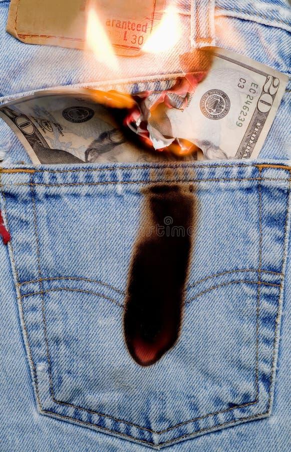 Quema de un agujero en mi bolsillo 1 imágenes de archivo libres de regalías