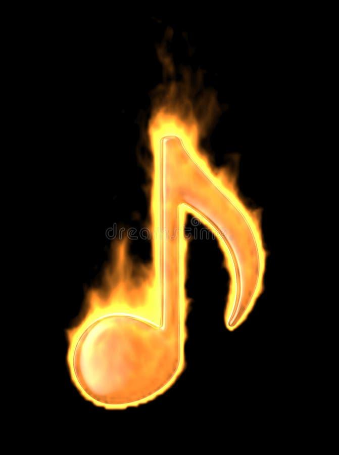 Quemadura de la nota de la música en fuego. icono 3D aislado ilustración del vector