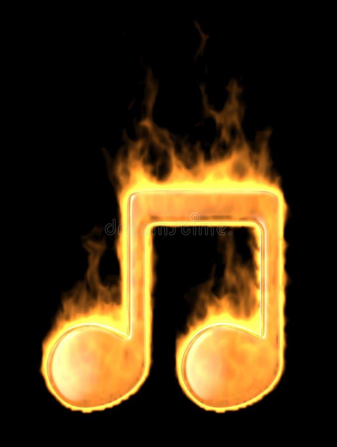 Quemadura de la nota de la música en fuego. icono 3D aislado stock de ilustración