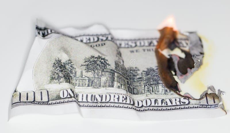 Quemadura de 100 USD foto de archivo libre de regalías