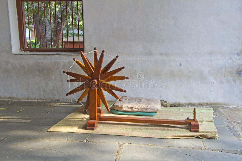 Quenouille dans l'ashram de Sabarmati photos stock