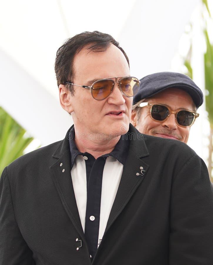 Quentin Tarantino Brad Pitt deltar i photocallen arkivbild