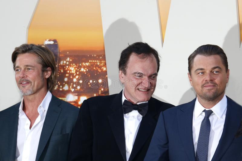 Quentin Tarantino, Brad Pitt and Leonardo DiCaprio. At the Los Angeles premiere of `Once Upon a Time In Hollywood` held at the TCL Chinese Theatre IMAX in royalty free stock images