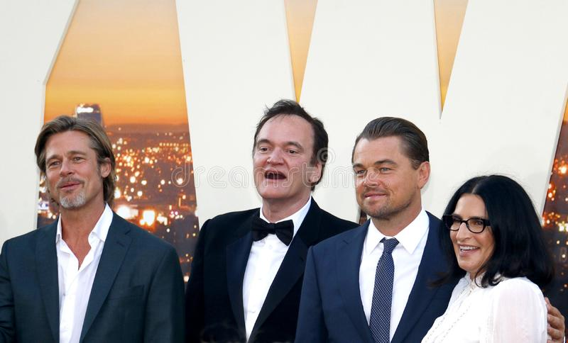 Quentin Tarantino, Brad Pitt and Leonardo DiCaprio. At the Los Angeles premiere of `Once Upon a Time In Hollywood` held at the TCL Chinese Theatre IMAX in stock image