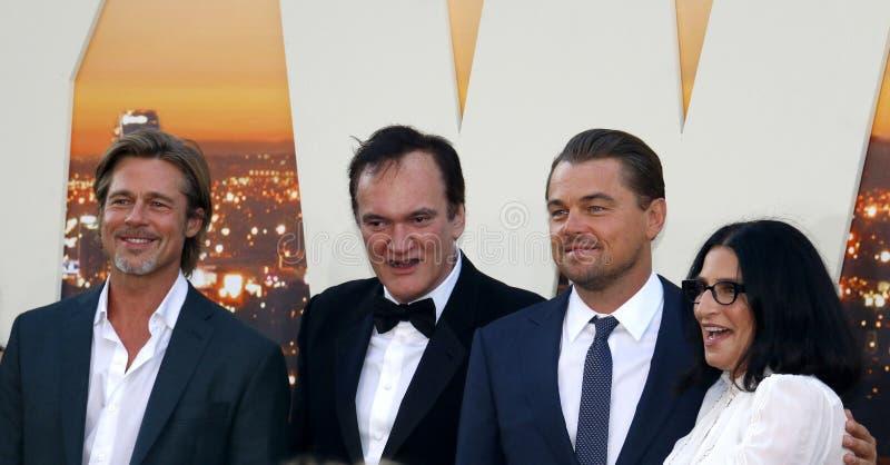 Quentin Tarantino, Brad Pitt och Leonardo DiCaprio arkivbild