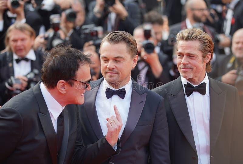 Quentin Tarantino, Leonardo DiCaprio och Brad Pitt royaltyfri fotografi