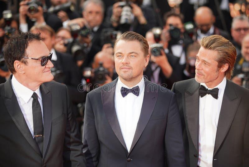 Quentin Tarantino, Leonardo DiCaprio och Brad Pitt arkivfoto