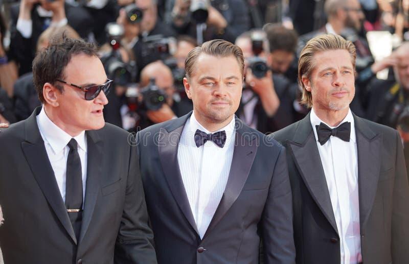 Quentin Tarantino, Leonardo DiCaprio och Brad Pitt arkivfoton