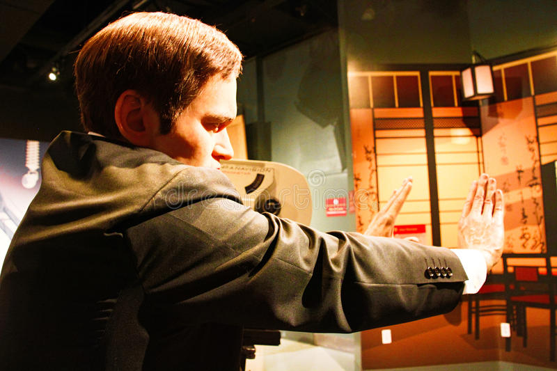 Quentin Tarantino in Madame Tussauds Hollywood. LOS ANGELES, USA - OCTOBER 08, 2015: Quentin Tarantino in Madame Tussauds Hollywood wax museum. Marie Tussaud was royalty free stock photography