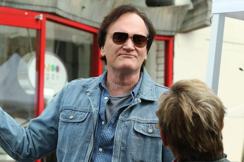 Quentin Tarantino. Receives a star on the Hollywood Walk of Fame royalty free stock photography