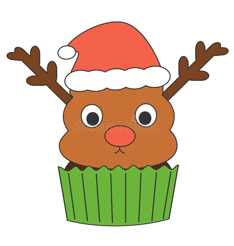 Queque bonito da rena dos desenhos animados com ilustração engraçada dos feriados do chapéu de Papai Noel ilustração stock
