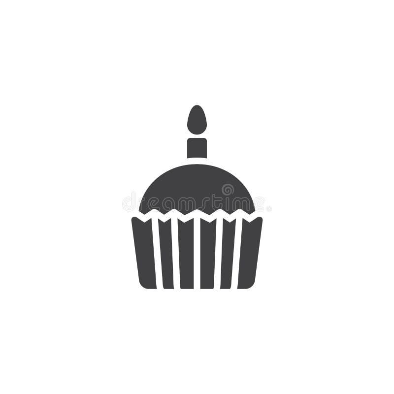 Queque com ícone do vetor da vela ilustração stock