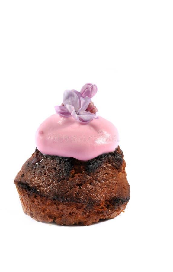 Queque com crosta de gelo cor-de-rosa imagens de stock