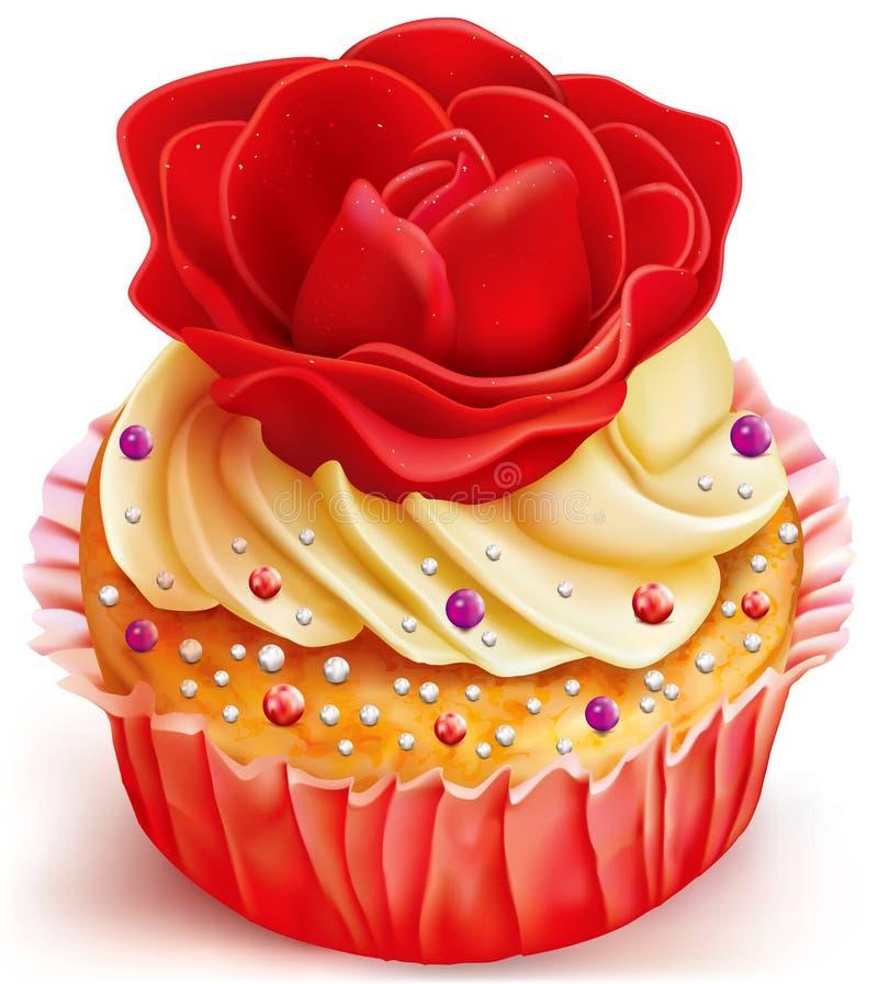 Queque com rosa do vermelho ilustração stock