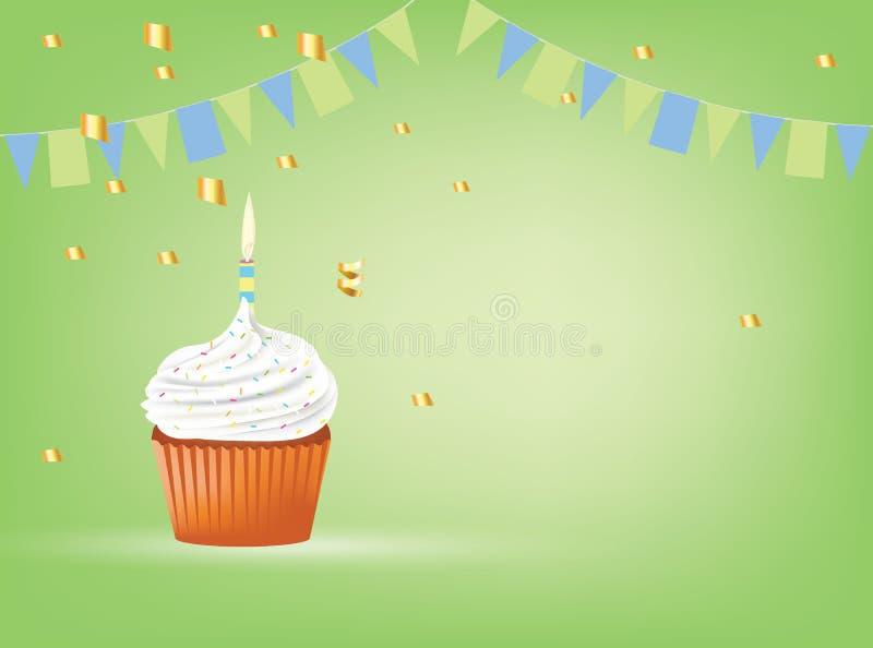 Queque com vela branca, cartão de aniversário ilustração stock