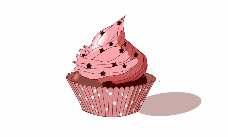 Queque cor-de-rosa bonito com estrelas e chocolate ilustração do vetor