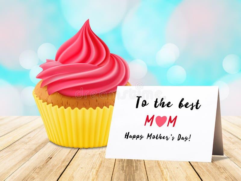 Queque cor-de-rosa com o cartão para o dia de mãe foto de stock