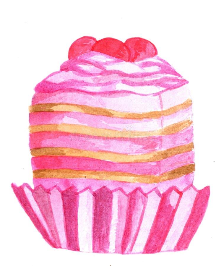 Queque cor-de-rosa da aquarela fotografia de stock