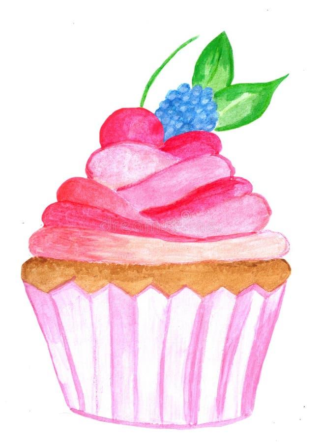 Queque cor-de-rosa da aquarela imagem de stock royalty free