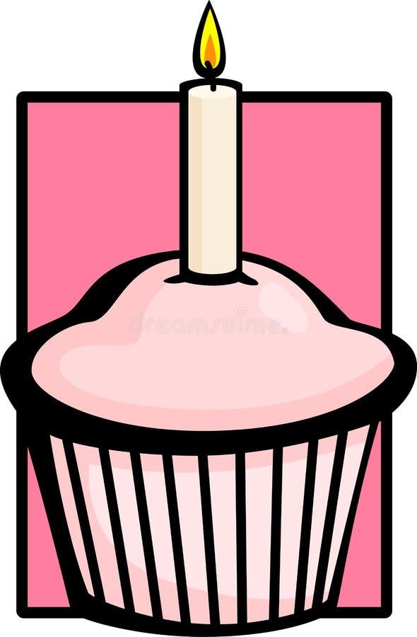 Queque cor-de-rosa do aniversário com vela ilustração do vetor