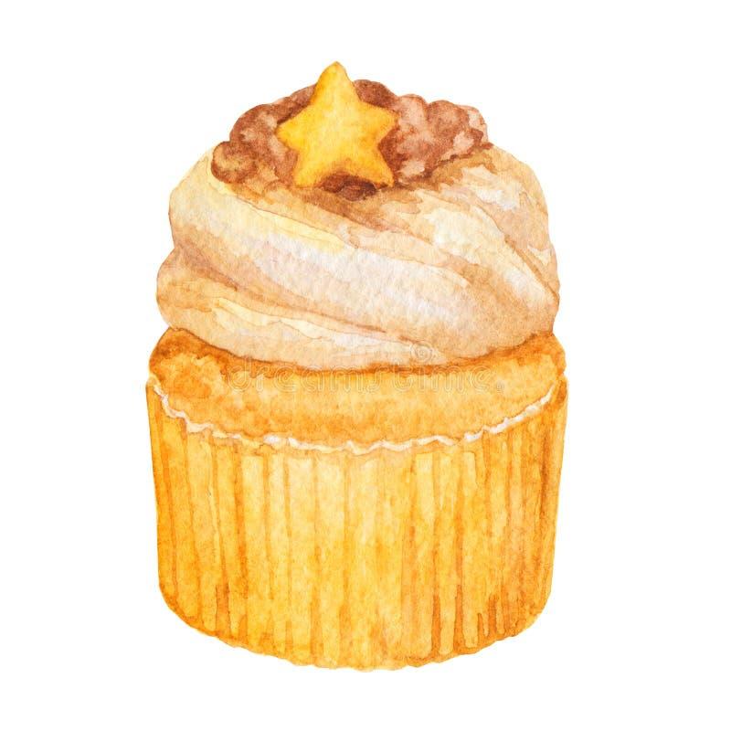 Queque da aquarela, madalena isolada em um fundo branco Mão deliciosa doce ilustração tirada da padaria ilustração stock