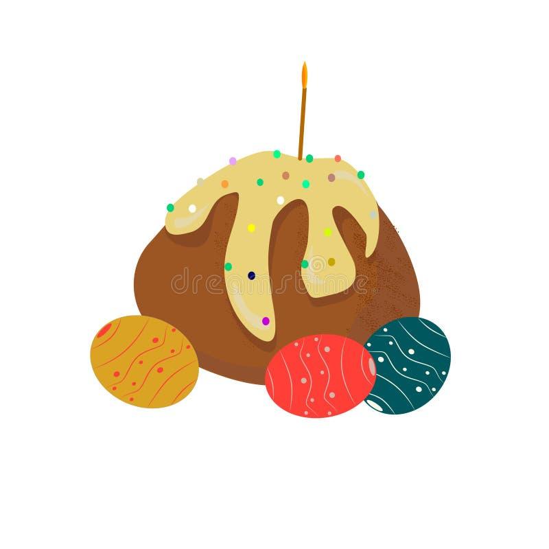 Queque da Páscoa com ovos e velas coloridos ilustração do vetor