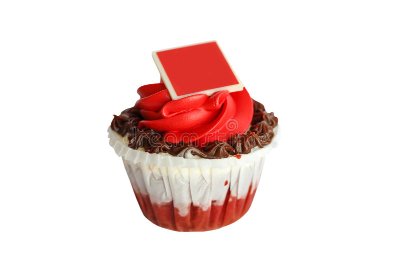 Queque da rosa do vermelho isolado no fundo branco imagem de stock royalty free