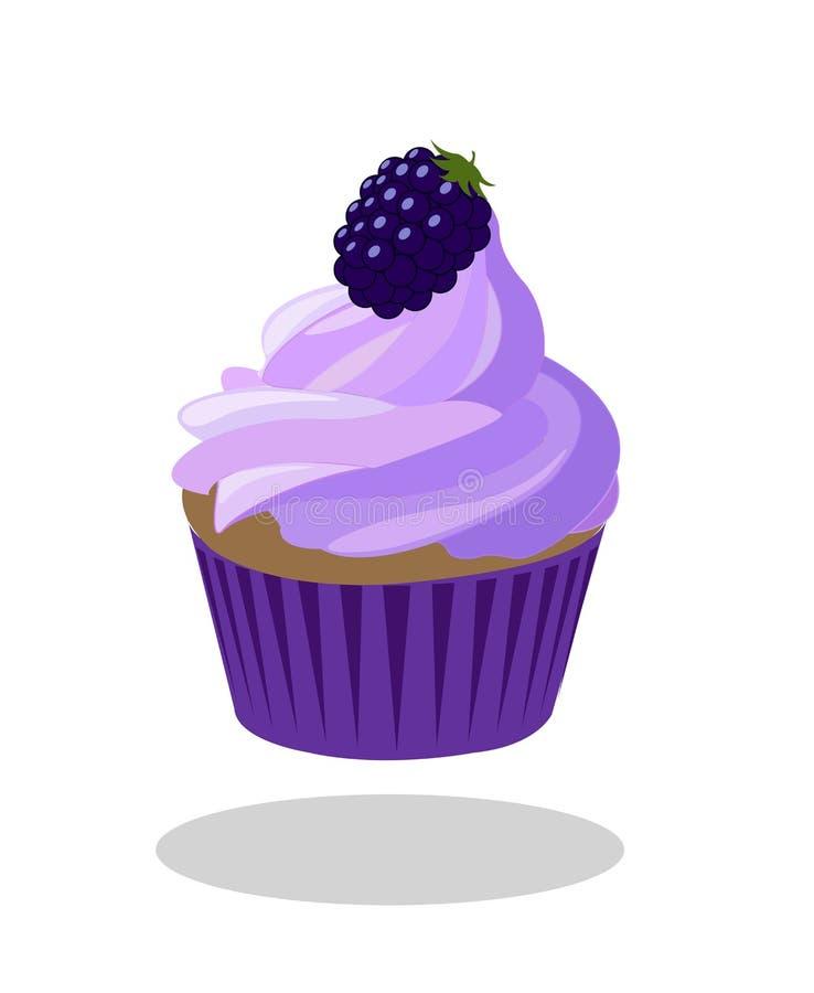 Queque de Blackberry com baga e a caixa de papel violeta roxa Vetor ilustração stock
