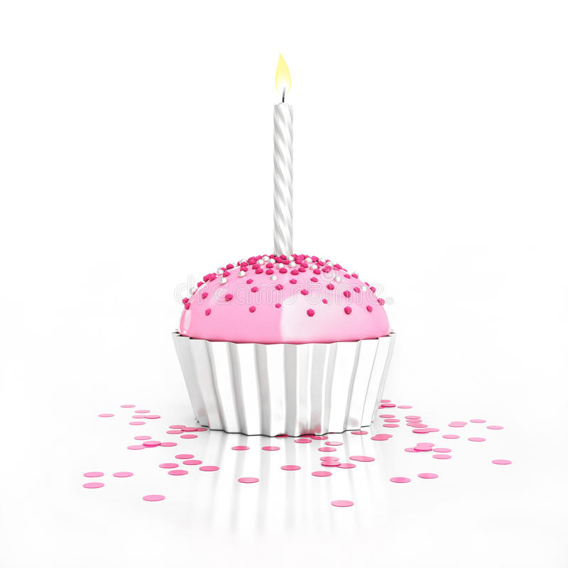 Queque de prata do chocolate do aniversário com vela e confetes no branco ilustração royalty free