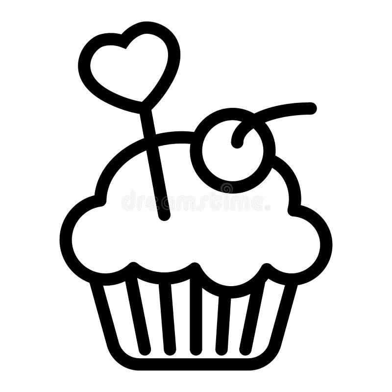 Queque delicioso, linha ícone do queque Ilustração cremosa do vetor do bolo isolada no branco Projeto do estilo do esboço da pada ilustração do vetor