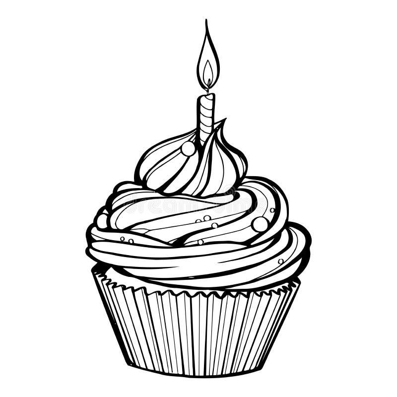 Queque do aniversário com vela ardente ilustração do vetor