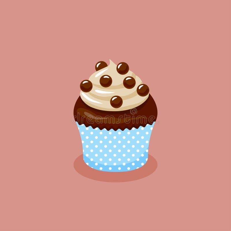 Queque do chocolate com as bolas do creme e do chocolate ilustração royalty free
