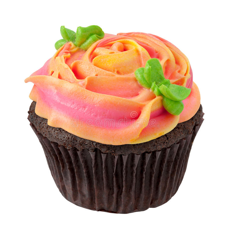 Queque do chocolate com Rose Shaped Frosting fotos de stock