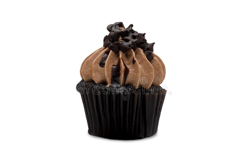Queque do chocolate isolado no fundo branco foto de stock royalty free