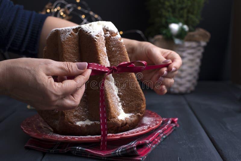 Queque italiano do Natal com açúcar pulverizado Festi tradicional fotos de stock royalty free