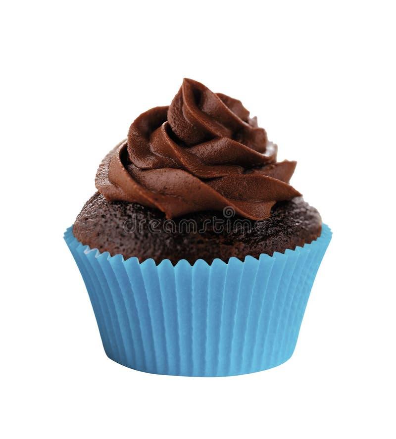 Queque saboroso do chocolate isolado no branco foto de stock